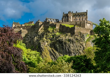 The North Walls of Edinburgh Castle, Scotland - stock photo