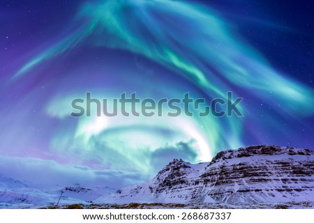 The Northern Light Aurora borealis at Kirkjufell Iceland - stock photo