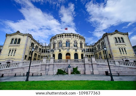 The norwegian parliament building, Oslo, Norway - stock photo
