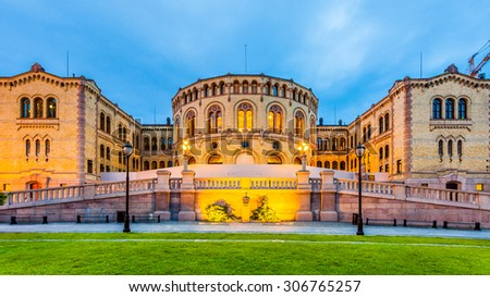 The Norwegian Parliament in Oslo, Norway. - stock photo
