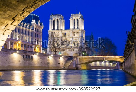 The Notre Dame cathedral in evening, Paris, France. - stock photo