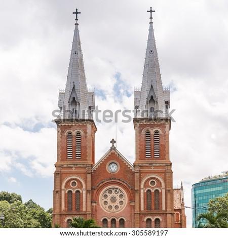 The Notre-Dame Saigon Basilica in Ho Chi Minh City, Vietnam, Southeast Asia - stock photo