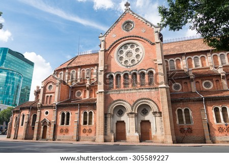 The Notre-Dame Saigon Basilica in Ho Chi Minh City, Vietnam, Southeast Asia - stock photo