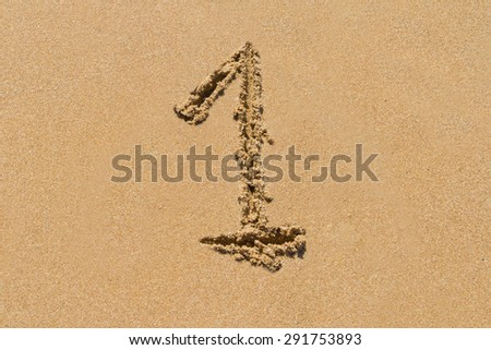 The number 1 drawn on sand at the beach, - stock photo