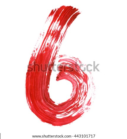The number 6 drawn with red paints on a white background. Acrylic color, thick brush, paper. Graffiti Style. - stock photo