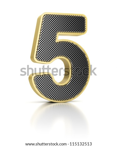 The number five as a shiny metal object over white - stock photo