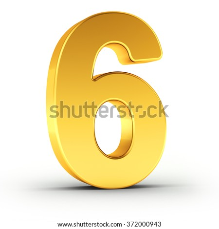The number six as a polished golden object over white background with clipping path for quick and accurate isolation. - stock photo