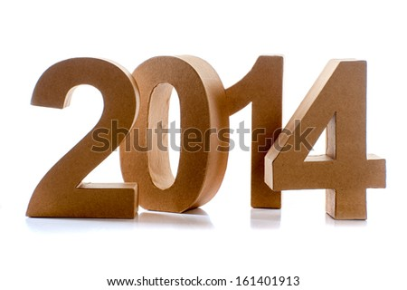 The number 2014, the year 2014, on a white background - stock photo