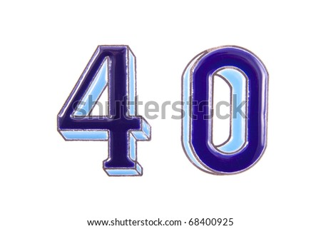 The numbers four and zero isolated over white - stock photo