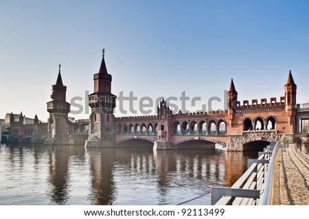 The Oberbaumbruke bridge connects the districts of Kreuzberg and Friedrichshain over the river Spree at Berlin, Germany - stock photo