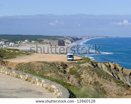 The obidos lagoon and sea, in the atlantica coast of portugal - stock photo