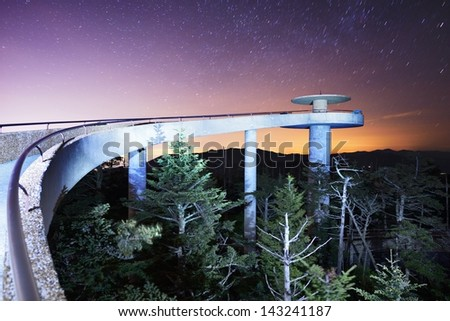 The observation deck of Clingman's Dome in the Great Smoky Mountains. - stock photo