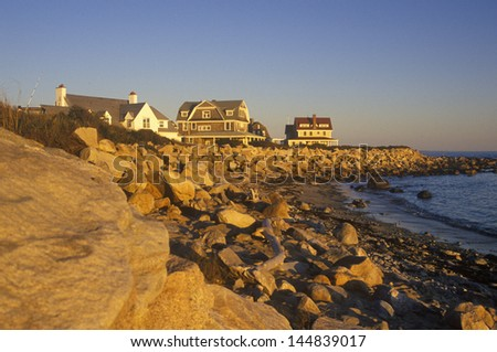 The ocean front along Scenic route 1 at sunset, Misquamicut, RI - stock photo