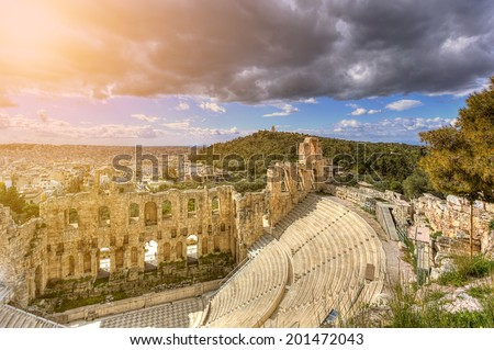 The Odeon of Herodes Atticus,Athens,Greece - stock photo