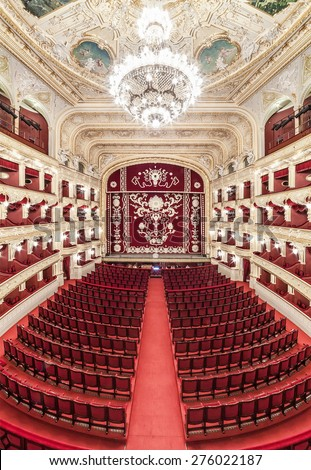 The Odessa National Academic Theater of Opera and Ballet in Ukraine. Central Golden Hall. 06 Jan 2014 - stock photo