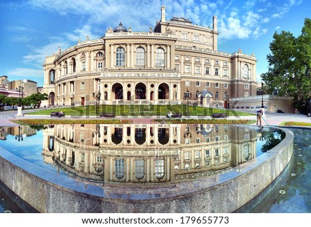 The Odessa National Academic Theater of Opera and Ballet in Ukraine. Facade with fountain on the front. 06 June 2013 - stock photo