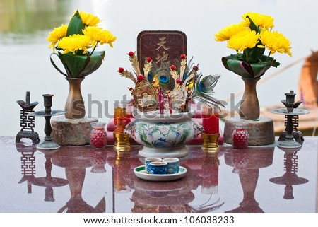 The offerings to pay homage at the shrine oblation - stock photo
