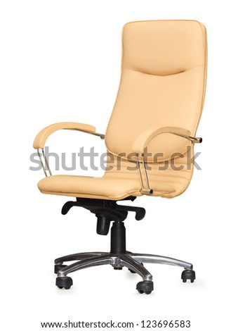 The office chair from beige leather. Isolated - stock photo