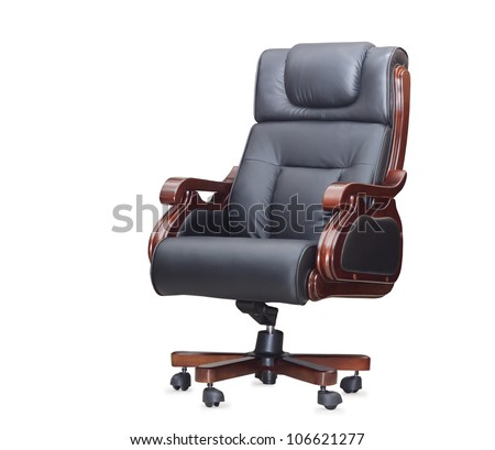 The office chair from black leather. Isolated - stock photo