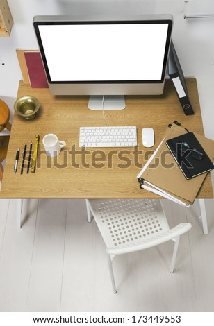 The office of a creative entrepreneur./  Aerial view of modern creative workspace.  - stock photo