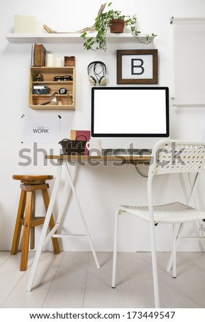 The office of a creative entrepreneur./ Modern creative workspace.  - stock photo
