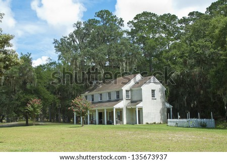 The officer's quarters at the Civil War Era Fort McAllister, built in the early 1800's near Savannah, Georgia. - stock photo