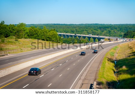 The Ohio Turnpike (Interstate 80) crosses the Cuyahoga Valley south of Cleveland - stock photo