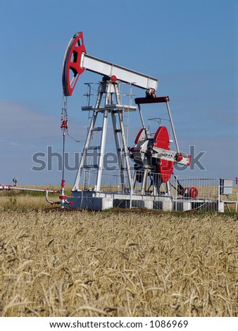 The oil-extracting pump - stock photo