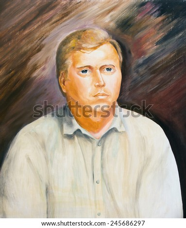 The oil painting. Portrait of a young man - stock photo
