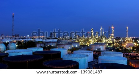 The Oil refinery at twilight in Bangkok, Thailand - stock photo