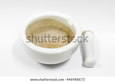 The old a mortar and pestle with white background 2 - stock photo