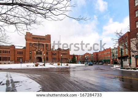The old armory in Syracuse NY is the focal point of the revitalized Armory Square district - stock photo