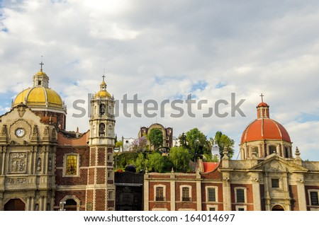 The old Basilica of Our Lady of Guadalupe in Mexico City - stock photo
