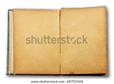 The Old blank book isolated on white background - stock photo