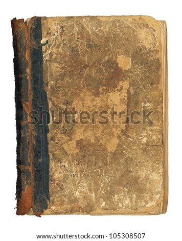 The old book, isolated on white, great texture - stock photo