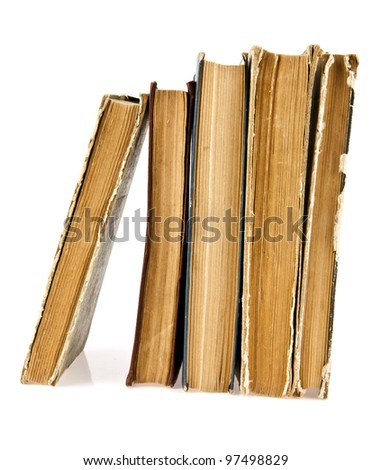 the old books on a white background - stock photo