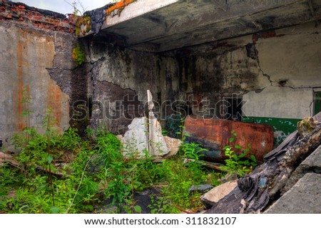 The old building overgrown with bushes - stock photo