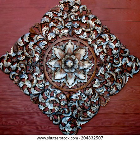 The Old carving wood ornament of flower pattern thai style - stock photo