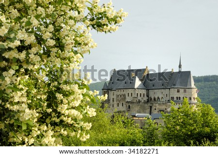 The old castle of Vianden in Luxembourg,Europe - stock photo