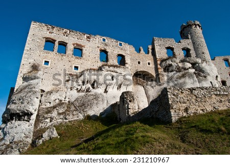The old castle ruins in Ogrodzieniec, Poland - stock photo