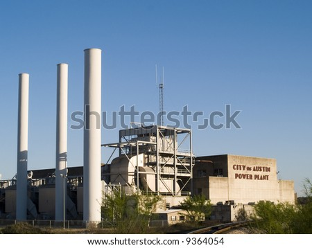 The old City of Austin Power Plant downtown near the Colorado River. - stock photo