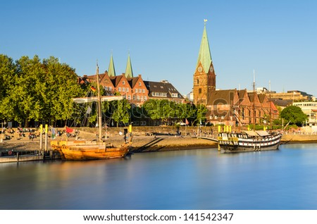 The old city of Bremen in golden evening light, Germany - stock photo