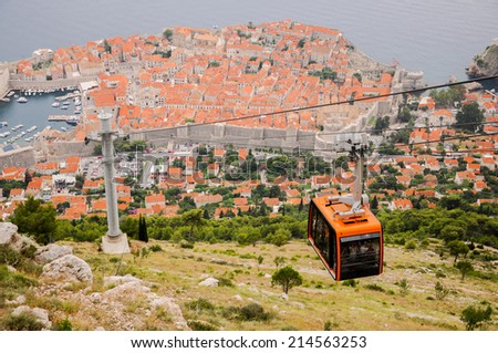 The old city of Dubrovnik seen from above - stock photo
