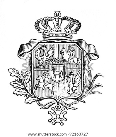 "The old coat of arms of Portugal. Engraving by Alwin Zschiesche published on ""Illustrierts Briefmarken Album"", Leipzig, Germany, 1885. - stock photo"