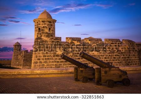 The old colonial castle of San Salvador de la Punta (or Castillo de San Salvador de la Punta), Old Havana, Cuba - stock photo
