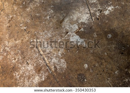 The old cracked cement and dirt and corrosion - stock photo