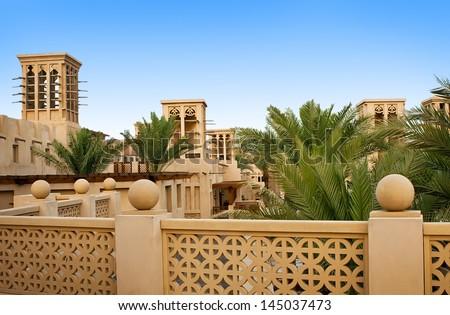 The old district of Dubai, Madinat Jumeirah - stock photo