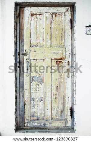 The Old Door with Cracked Paint Background - stock photo
