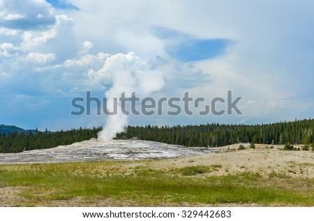 The Old Faithful Geyser on sunny day, Yellowstone Park ,Wyoming,USA. - stock photo