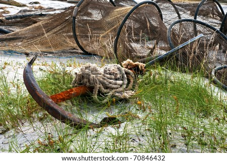 The old fishing anchors - stock photo